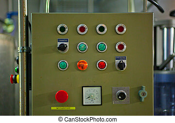 Control board with many buttons in a factory