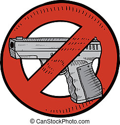 control, bosquejo, arma de fuego