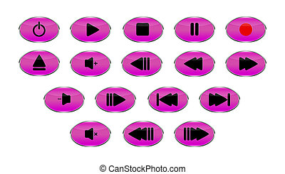control, botones, conjunto, oval, medios