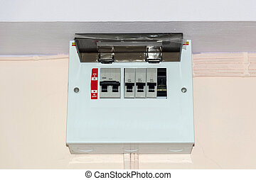 Control box electrical circuit breakers.