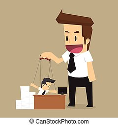 control Businessman puppet. String and authority