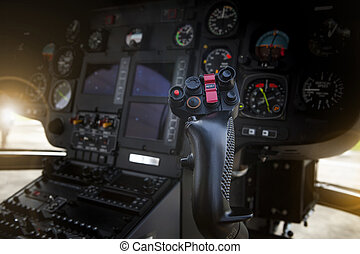 control, carlinga, palo, helicóptero, lado, piloto