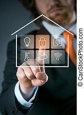 control, casa, utilizar, hombre de negocios, elegante, panel
