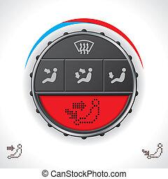control, coche, clima, multifunctional, exhibición, rojo