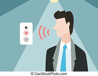 control, computadora, illustration., vector, voz, elegante
