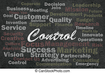 Control concept with business related words on retro...