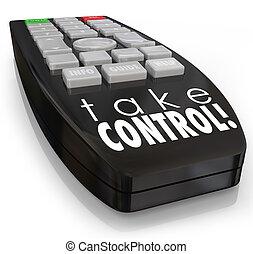 control, confianza, remoto, perentorio, actitud, toma, ambición