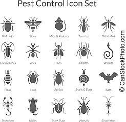 control, conjunto, iconos del negocio, insectos, vector, ...