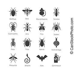 control, conjunto, iconos, insectos, compañía, vector, peste