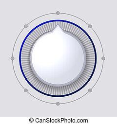 control, esfera, botón, volumen, vector, blanco