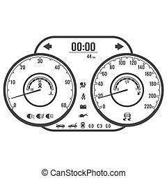 control, estilo, simple, o, instrumento, diseño, tablero de...
