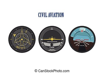 Control indicators of aircraft and helicopters. The instrument panel in a flat style on a white background