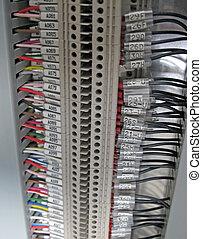 control, industria, terminal, eléctrico, cables, bloque,...