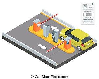control, isométrico, barrera, área, operadores, concept., ...