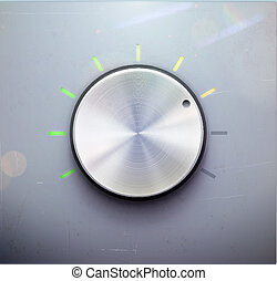 control knob - Vector illustration of metal volume control...