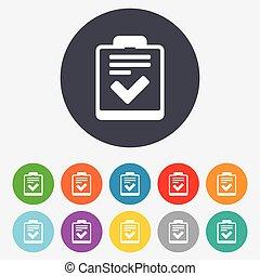control, lista de verificación, lista, símbolo., señal, icon.