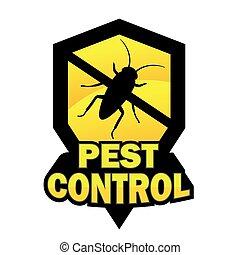 control, logotipo, peste