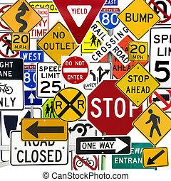 control, montaje, señales, señales de tráfico, numeroso