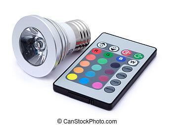 control, multi, fue adelante, luz, color, algunos, botones, multicolor, bombilla, varios, remoto