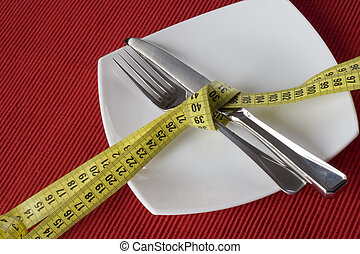Control obesity - Fork and knife tieup with a measure tape....