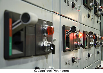 Control panel 1 - Close-up of electrical control panel with...
