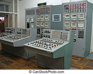 Control panel at electric power plant - Control panel of ...