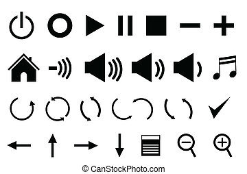 Control panel icons in black