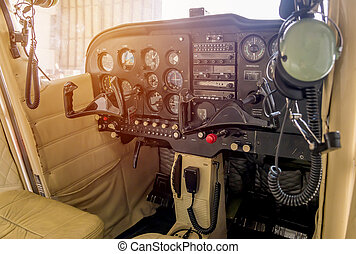 Control panel in a cockpit with instruments equipment