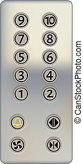 Control panel of the elevator on a white background. Metal elevator panel with buttons and