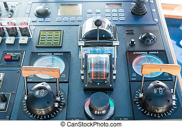 Cruise Control Room Equipment Interior Of Cockpit Of A Stock - Cruise ship controls