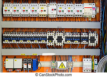 Control panel with static energy meters and circuit-breakers...
