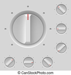 Control panel with switches. Illustration on gray
