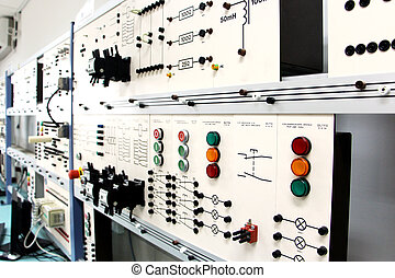 Control panels in an electronics lab