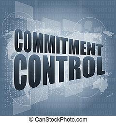 control, pantalla del tacto, compromiso, digital