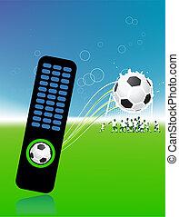 control, pelota, consola, jugadores de fútbol americano, campo, futbol
