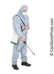 control peste, trabajador, con, pesticidas, rociador