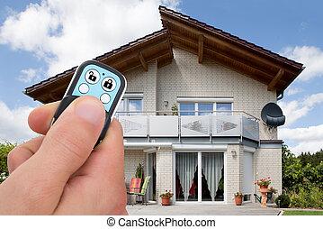 control, primer plano, remoto, alarma, persona, utilizar, ...