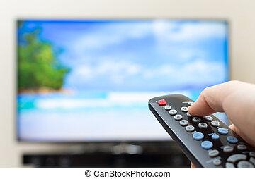 control, programa, remoto, televisión, botón, conmutación, ...