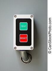 control, restablecer, prueba, botones