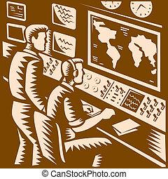 Control Room Command Center Headquarter Woodcut -...
