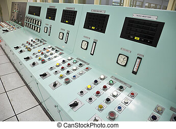 Control room of a water treatment plant - Control panels in...