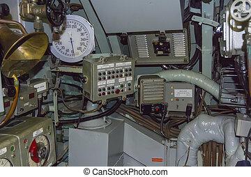 control, submarino, paneles, viejo, ajuste