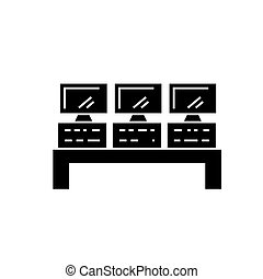 control system icon, vector illustration, black sign on isolated background