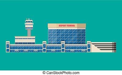 control, terminal, aeropuerto, edificio, torre