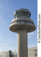 Control tower in Barcelona Airport, Catalonia, Spain.
