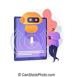 controlado, voz, illustration., chatbot, ayudante, vector, ...