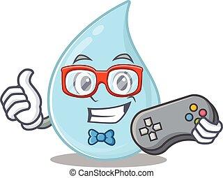 controlador, desenho, mascote, conceito, usando, gamer, pingo chuva