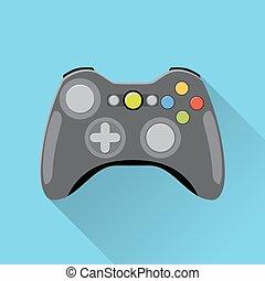 controlador, jogo video, icon.
