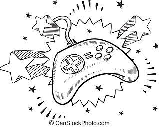 controlador, videojuego, bosquejo