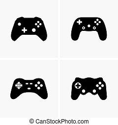 controladores, jogo, vídeo